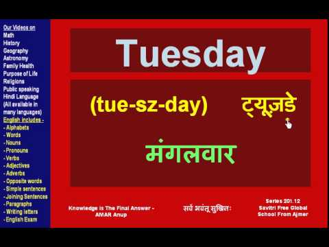 Names of English Days and Months in English and Hindi - Savirti Free Global  School From Ajmer
