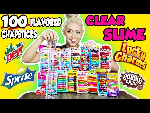 MIXING 100 FLAVORED CHAPSTICKS INTO A GIANT CLEAR SLIME! | SO SATISFYING UGH! | NICOLE SKYES