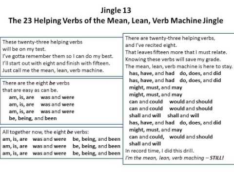 Jingle 13 The 23 Helping Verbs Of The Mean Lean Verb Machine Jingle 1st And 2nd