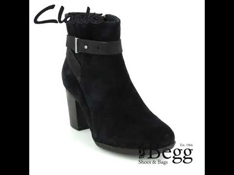 Clarks Enfield Sari D Fit Black suede ankle boots