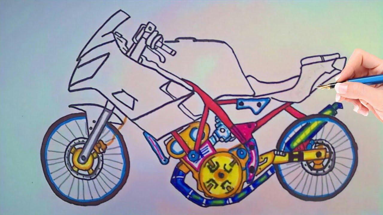 Cara Menggambar Motor Drag Ninja 4 Tak Modifikasi Thailook Jari