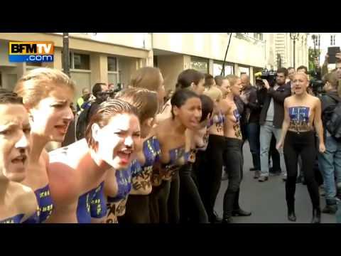 """Manifestation des Femen à Paris contre le FN et """"l'épidémie fasciste"""" en Europe - 22/04"""