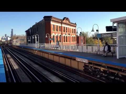 catching Blue Line CTA train to airport, Damen, Chicago (11-6-16)
