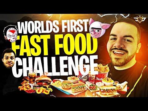 WORLD FIRST FAST FOOD CHALLENGE! THE YOUTUBE GOD SQUAD RETURNS! (Fortnite: Battle Royale)