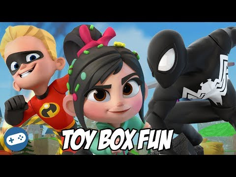 Black Suit Spiderman Dash And Vanellope Disney Infinity 3.0 Toy Box Fun Gameplay
