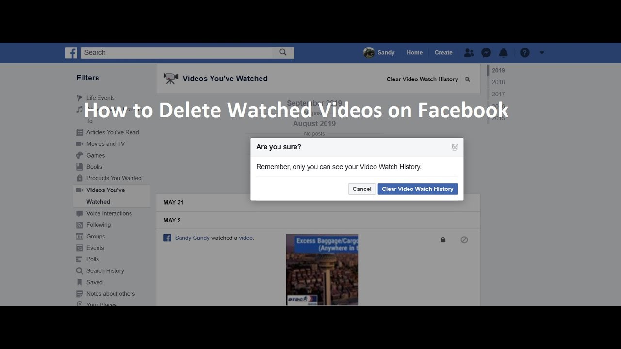 How to Delete Watched Videos on Facebook  How to delete Watched video  history