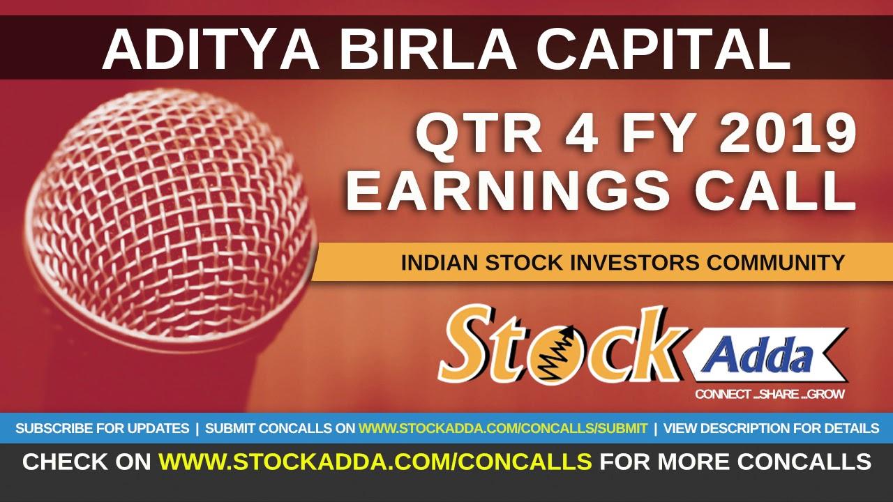 Aditya Birla Capital Investors Conference Call Qtr4 FY19