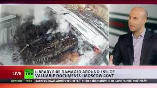 Fire rages in Moscow library damaging rare documents