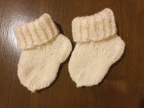 Вязание носочков для новорожденных спицами видео