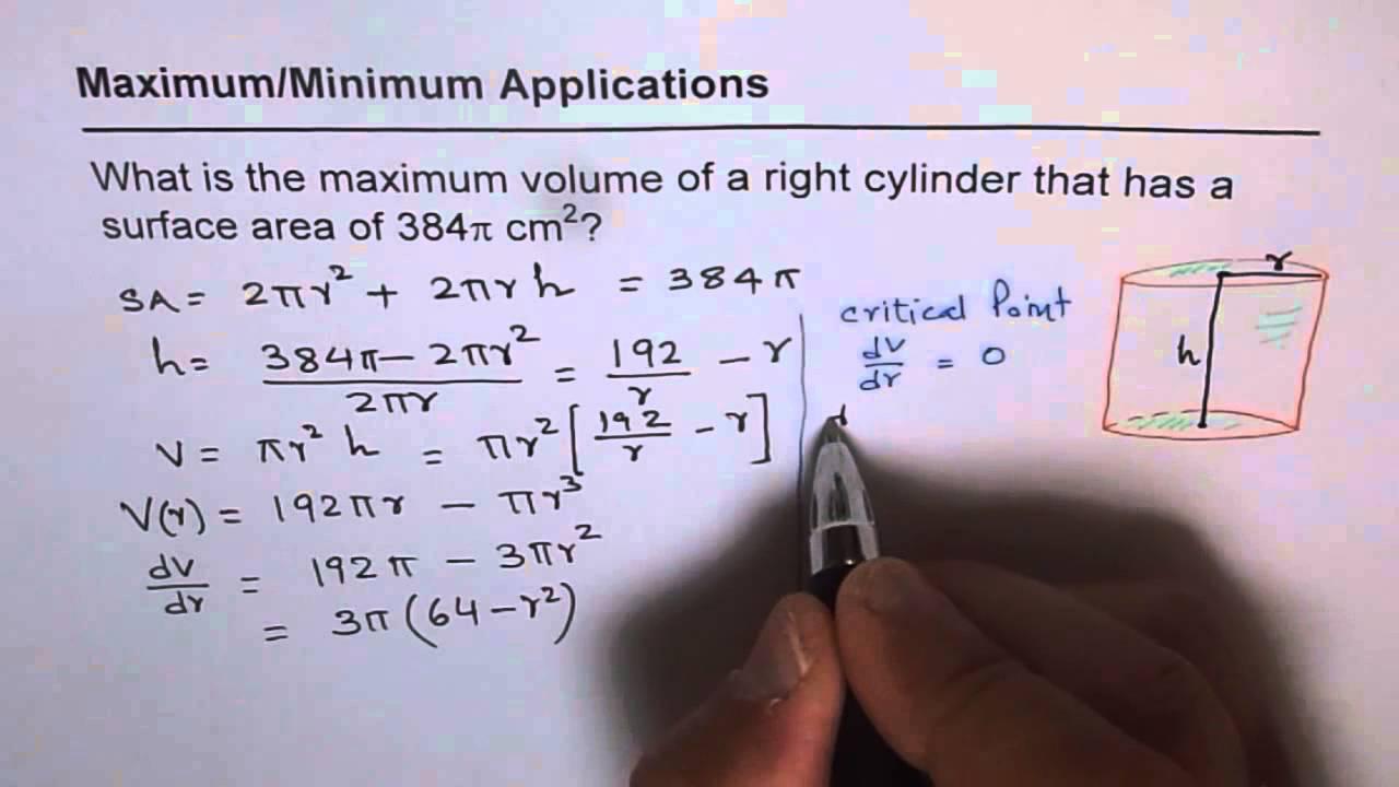 101 maximum volume of cylinder give surface area application of 101 maximum volume of cylinder give surface area application of derivatives calculus ccuart Choice Image