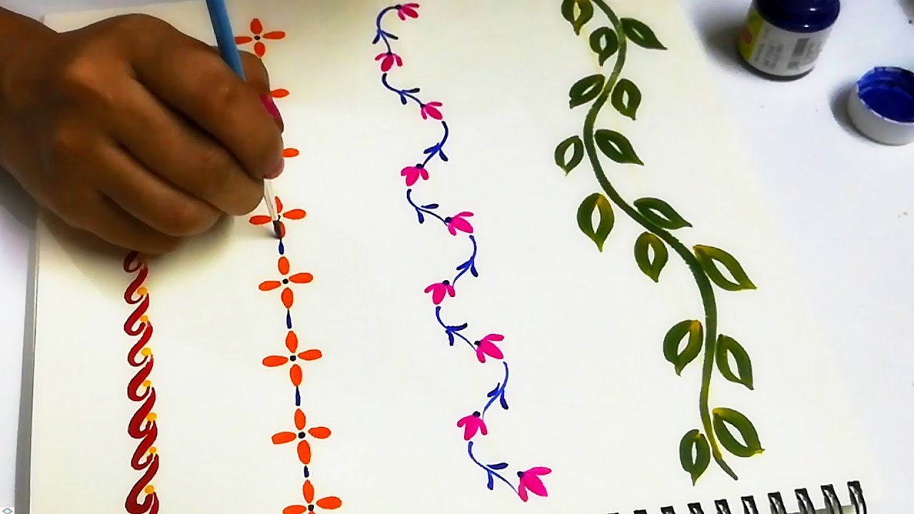 Hand painted border designs for kurtis sarees blouses fabric painting tips using round brush