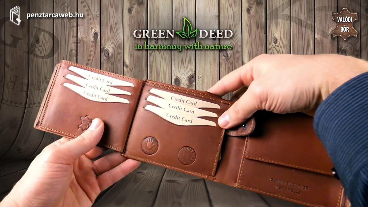 ec28009a1da9 Bőr férfi pénztárca átkapcsolóval GreenDeed VT1026/T - YouTube