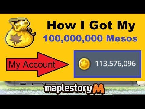 How I Got My 100,000,000 Mesos In Maplestory M (Maplestory Mobile Video)
