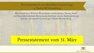 Ministerpräsident winfried kretschmann, innenminister thomas stroblund gesundheitsminister manne lucha berichten von der kabinettssitzungund über die aktuell...