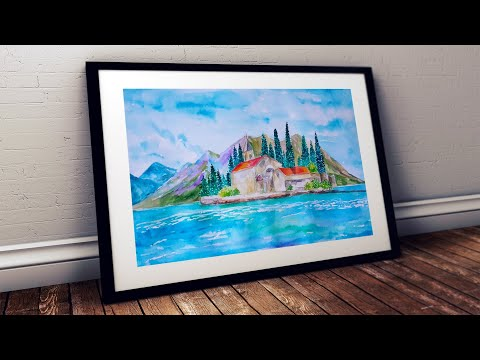 WATERCOLOR PAINTING FOR BEGINNERS MASKING FLUID EASY HOW TO PAINT ISLAND LANDSCAPE SCENERY TUTORIAL