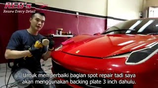 Detailing process on red Ferrari 458 Italia by RED's Medan