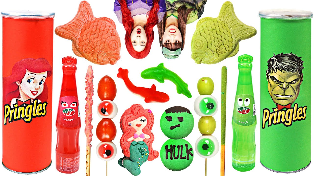 Hulk Green food vs Mermaid Red food Mukbang challenge by yomi yami