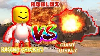 raging chicken vs giant turkey | Roblox Destruction Sim