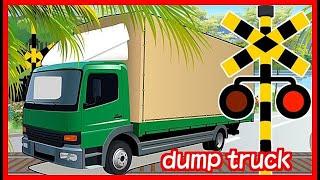 【トラックと踏切 電車】 Truck and train railroad crossing animation★いろんなトラックが踏切を通過するよ★ はたらくくるま
