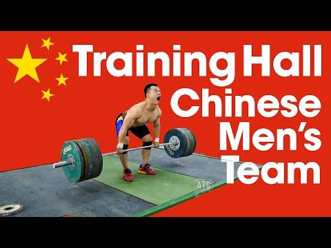 Chinese Men's Weightlifting Team - Heavy Squats & Pulls Asian Championships Training Hall
