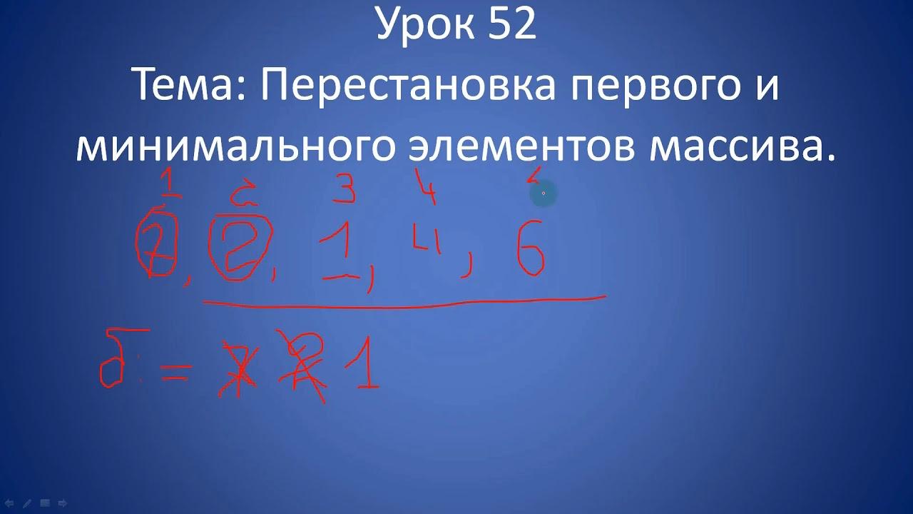 Урок 53. Перестановка первого и минимального элементов массива.