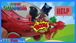 Pj Masks Toys Flat Body,Get hit by Glider & Learn Colors with Pijamaskeliler(Catboy,Owlette,Gekko)