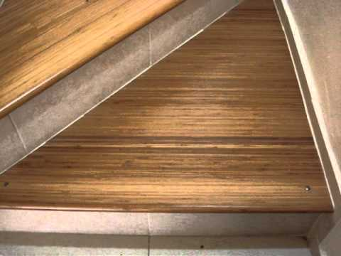 colocacion de piso de bambu en escalera