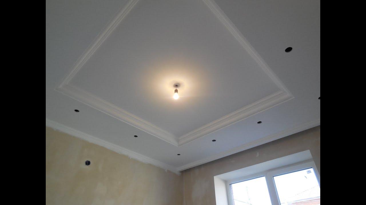 подвесные потолки из гипсокартона в комнате фото