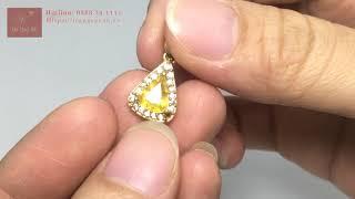 Mặt Dây Chuyền Nữ Vàng 14k Gắn Đá Chủ Saphir Vàng Cao Cấp