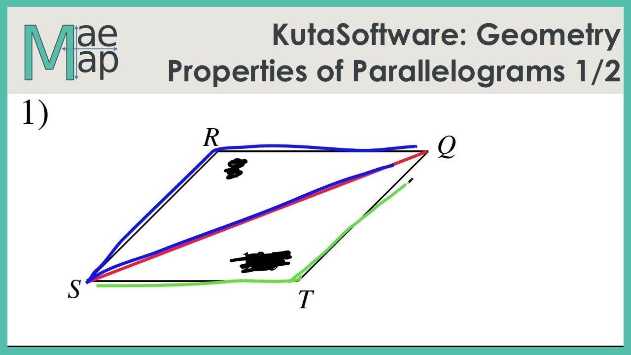 Kutasoftware Geometry Properties Of Parallelograms Part 1 Youtube