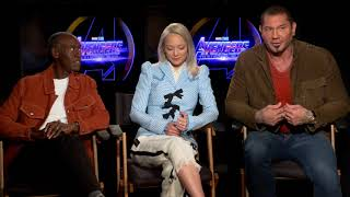 Fun with Dave Bautista, Don, Cheadle, Pom Klementieff Avengers Infinity War full interview