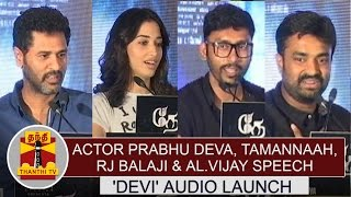 Actor Prabhu Deva, Tamannaah, RJ Balaji & AL Vijay Speech at Devi Audio Launch