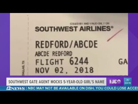 5-year-old's name mocked by Southwest Airlines employee