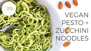 Almond Spinach Pesto With Zucchini Noodles | Lunch Or Dinner Recipe | Healthy Grocery Girl®