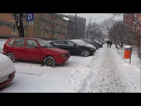 Walking in the Snow in Poznan, Poland