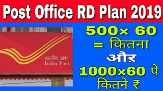 POST OFFICE RD PLAN    POST OFFICE RECURRING DEPOSIT INTEREST RATE 2019 Hindi  Mr Kashyap