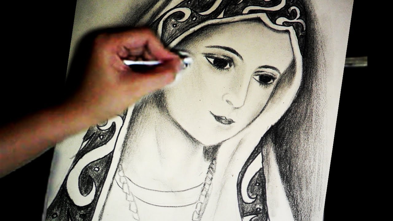 Virgin marys portrait pencil speed drawing by joecymijares youtube