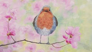 Spring Floral Robin Bird - Beginner Basics Series Acrylic Painting LIVE Tutorial