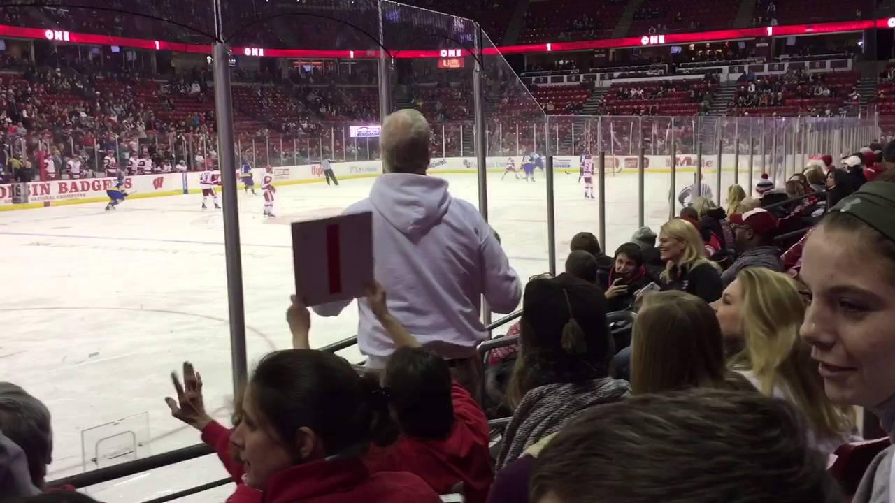 Uw Hockey We Want More Chant With Bucky Youtube