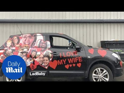 Wife covers her husband's car in pictures of her for prank - Daily Mail