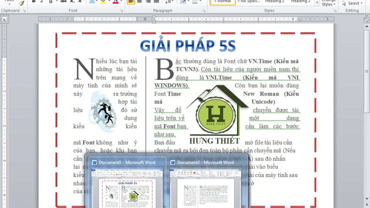 Chia cột, Chèn hình, Chèn chữ cái lớn, Chèn khung trong Word 2010