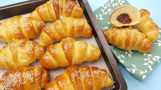 Much better than store bough. Soft, fluffy, flavorful croissants, made from yeast dough.