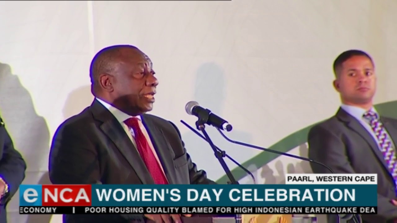 South African president Cyril Ramaphosa addresses Women's Day celebrations.