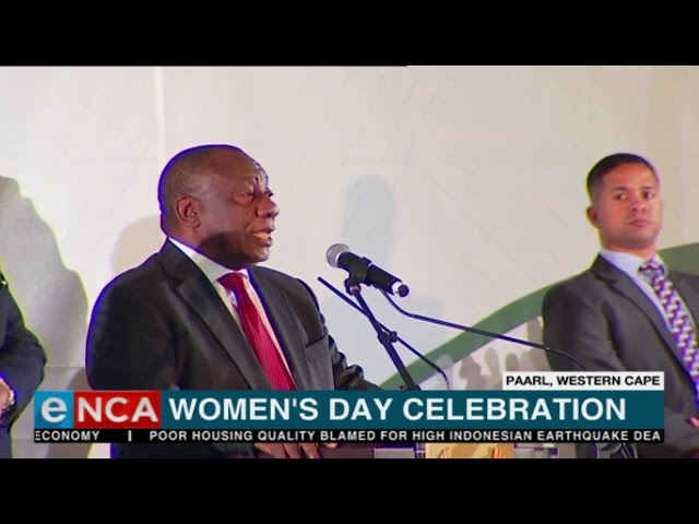 South African president Cyril Ramaphosa addresses Women's Day celebrations.