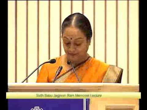 Honorable Speaker Smt. Meira Kumar Speaks at 6th Babu Jagjivan Ram Memorial Lecture.