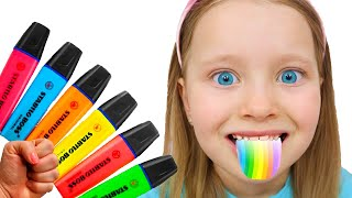 Pretends to play with his Magic Pen - Preschool toddler learn color | Milli and family