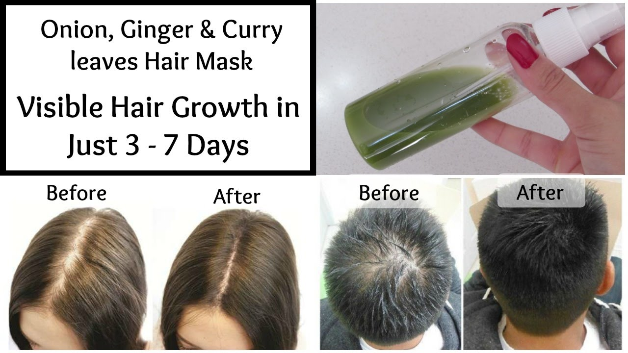 Visible Hair Growth In Just 3 Days Onion Ginger Curry Leaves