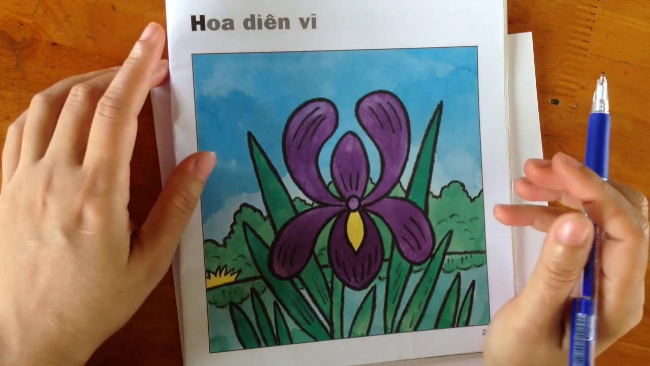 Cách vẽ hoa Diên Vĩ đơn giản🌺