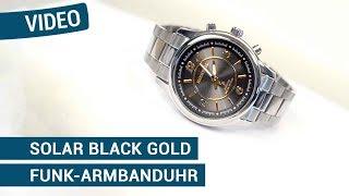 Produktvideo zu Sprechende Funk-Armbanduhr für Damen mit Gliederarmband Solar Black / Gold