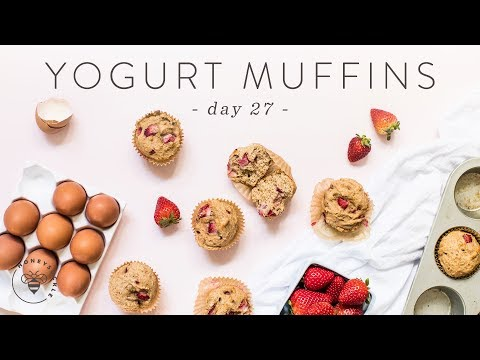 Whole Wheat Strawberry Yogurt MUFFINS 🐝 DAY 27